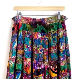 Vintage Bohemian Chic Maxi Patchwork Skirt